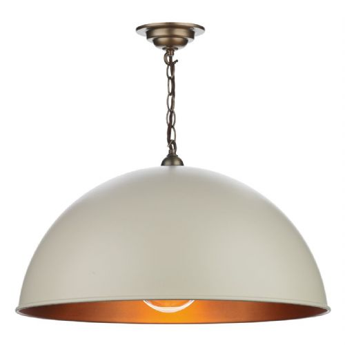 Ealing 1 Light Large Pendant Cots Cream/Antique Brass Inner EAL0112 (7-10 day Delivery)